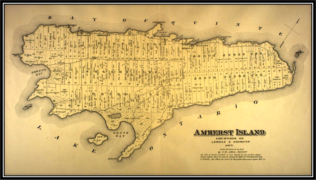 Amherst Island Map from the Frontenac - Lennox - Addington 1878, Ontario Published by J. H. Meacham & Co. in 1878